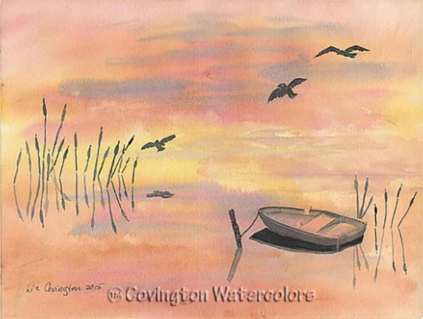 """Empty Boat and Reeds 12"""" x 16"""""""