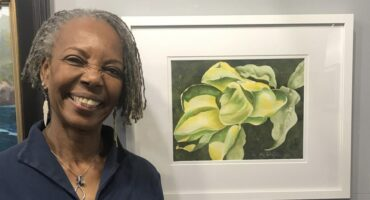 "Liz with Second Place art ""Green Beauty"""