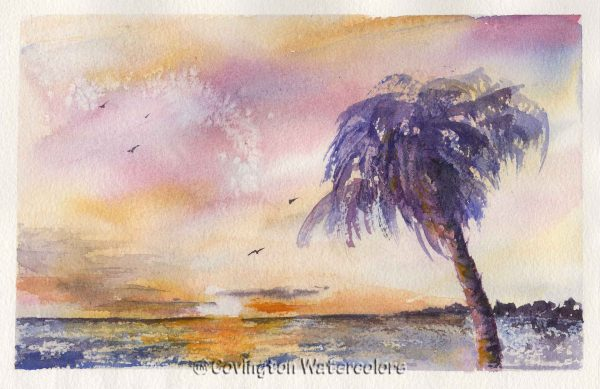 """Solitary Palm 7"""" x 10"""""""