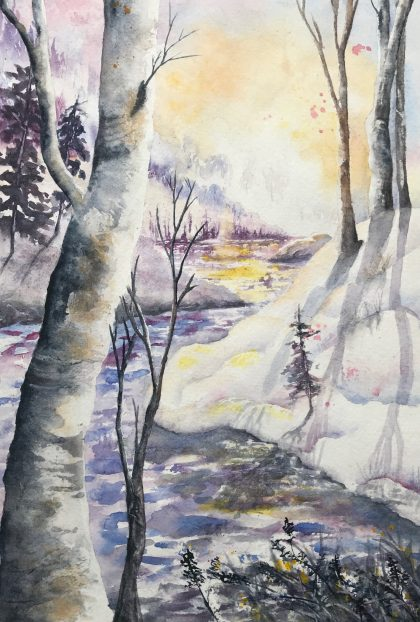 "Winter River Sunset 10"" x 141/2"""