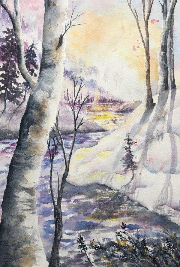 "Winter River Sunset 10"" x 141/2"""