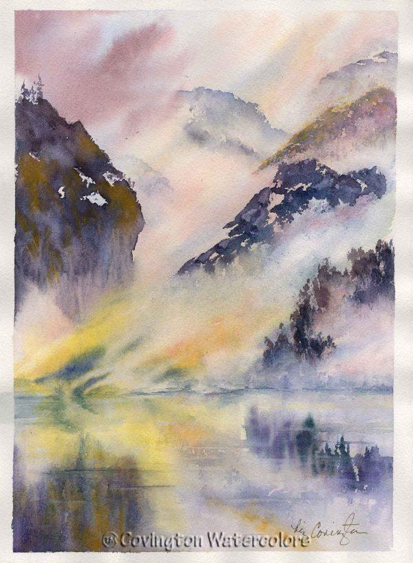 """Zen Lake Painting 11"""" x 15"""""""