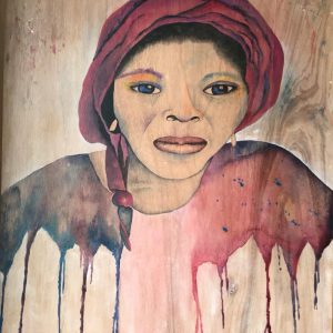 "Nigerian House Girl on Reclaimed Wood 36"" x 48"""