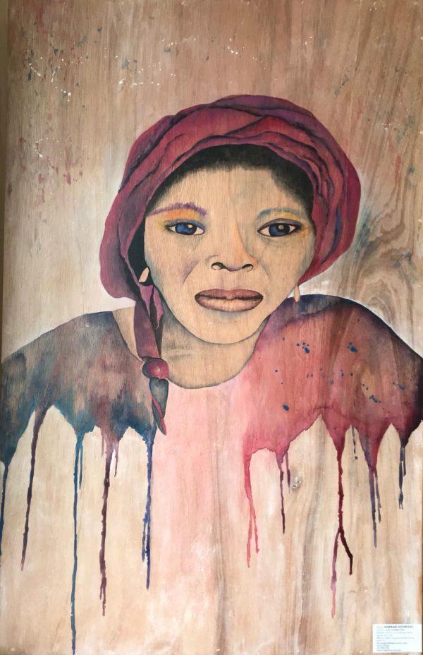 "Nigerian House Girl on Reclaimed Wood 36"" x 48"""