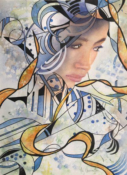 "Abstract Woman II 16""x 20"" Framed"